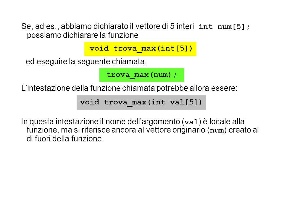 void trova_max(int[5]) void trova_max(int val[5])